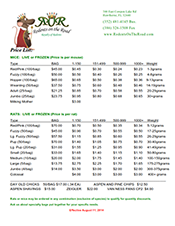 Printable Price List